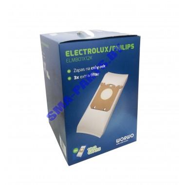 ELMB 01 X 12 K Комплект пылесборников (10 шт + 2 шт (в подарок) + 3 фильтра) для сухого пылесоса Electrolux, PHILIPS