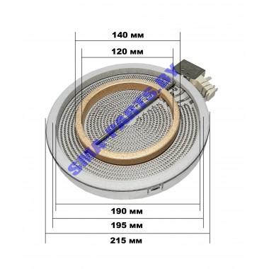 Конфорка (блин нагрева) стеклокерамической варочной поверхности10.59211.004 195/120 мм